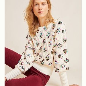Anthropologie Lara Sequined Sweater